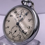 andreas huber berlin vintage chronograph monopusher pocket watch with orig box 5